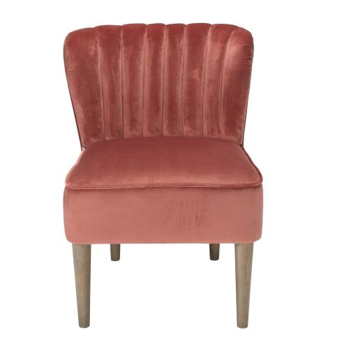 AXE151 Plush Velvet  Vintage Pink Accent Chair By Denelli